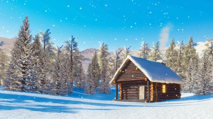 Wall Mural - Cozy snowbound log cabin with smoking chimney among snow covered fir forest high in alpine mountains at winter day with slight snowfall. Decorative 3D animation in cinemagraph style rendered in 4K