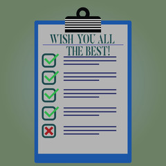 Word writing text Wish You All The Best. Business concept for Special wishes have a good fortune lucky life Lined Color Vertical Clipboard with Check Box photo Blank Copy Space