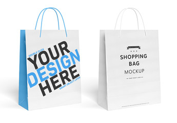 Shopping Bag Isolated on White Mockup