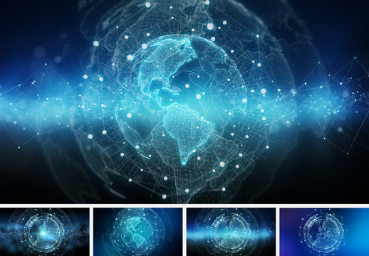 Isolated Globe and Technology Backgrounds