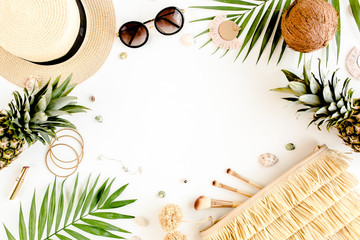 Wall Mural - Female, summer street style. Women's frame of accessories. Straw hat, bag, sunglasses and pineapple. Top view, flat lay.