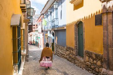 Jaen Street in La Paz, Bolivia city center