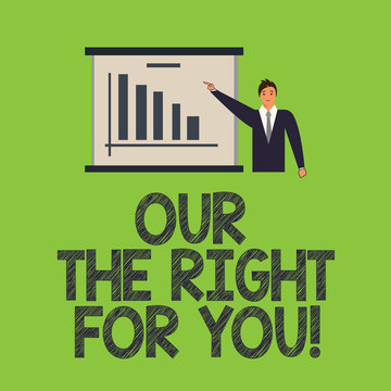 Word writing text Our Service For You. Business concept for Offering professional customer assistance support Man in Business Suit Standing Pointing a Board with Bar Chart Copy Space