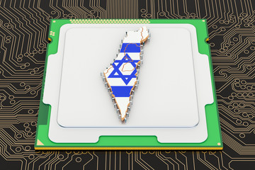 CPU computer processor unit with flag of Israel, 3D rendering