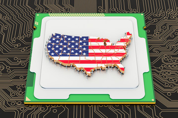 CPU computer processor unit with flag of the United States, 3D rendering
