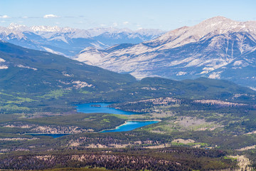 Aerial view of Jasper lakes from the top of Whistler mountain - Jasper national park, Alberta, Canada