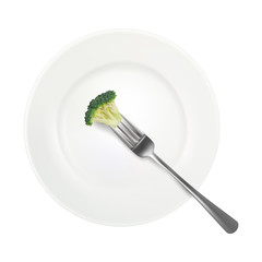 One broccoli floret with fork on white plate background