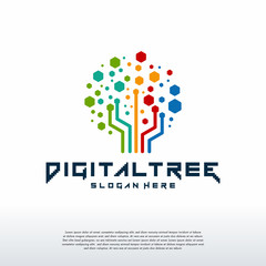 Digital Tree logo designs concept vector, Modern Tree tech logo template, Logo symbol icon