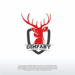 Deer Hunter logo designs badge, Vintage Head Deer logo vector