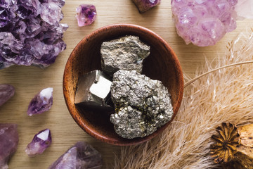 Teak Bowl of Pyrite with Amethyst Crystals and Dried Poppy Flower