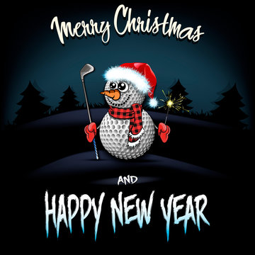 Snowman from golf balls with putter and sparklers