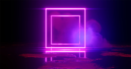 3d rendering illustration. Square Purple and red neon light on a smoke background. Neon frame for your design.