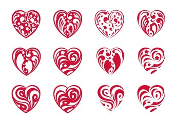 Heart. Set of red icons