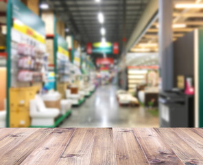 Construction discount store interior blur background