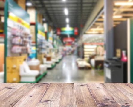Construction discount store interior blur background