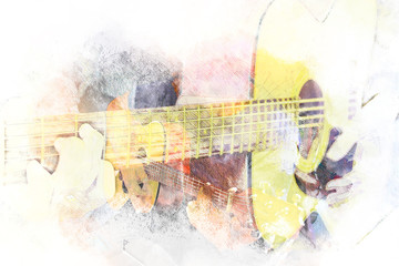 Abstract beautiful playing acoustic Guitar in the foreground on Watercolor painting background and Digital illustration brush to art..