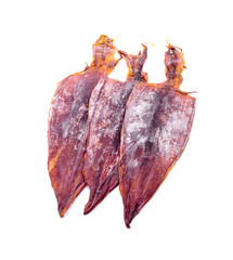 Dried squid on white background - Image