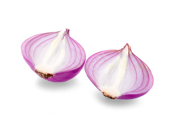 Slices of shallot onions for cooking on white background. - Image