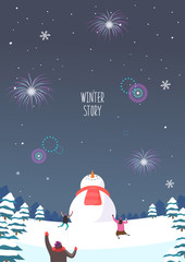 Winter travel illustration