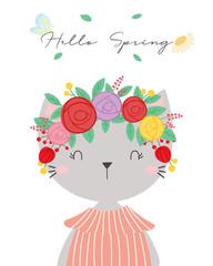 Cute cat vector. T-shirt design. Greeting card.