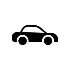 Silhouette of car, small auto icon. Black icon on white backgrou