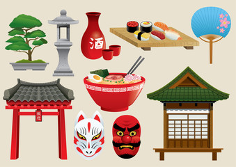 japan traditional object set