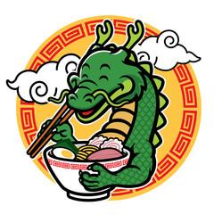 cartoon dragon mascot eat ramen