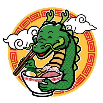 cartoon dragon mascot eat ramen