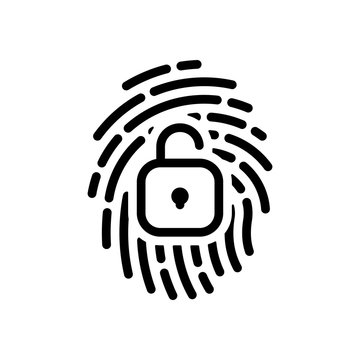 Fingerprint with open lock, personal protect, secutiry icon. Bla