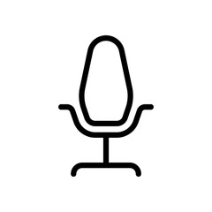 Office chair, linear outline business icon. Black icon on white background