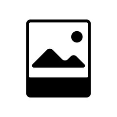 Photo, image file, album of pictures, simple icon. Black icon on white background