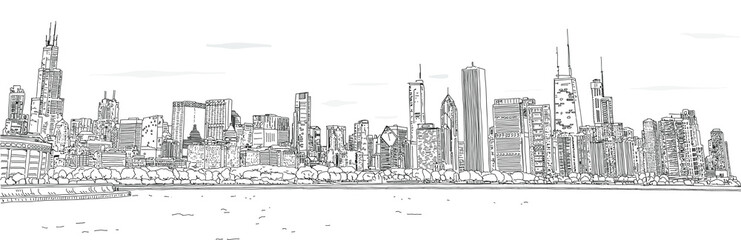 Hand drawn vector illustration. Panorama of the Chicago skyline. Detailed ink look and feel. Black and white.
