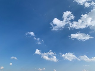 The white clouds in the sky