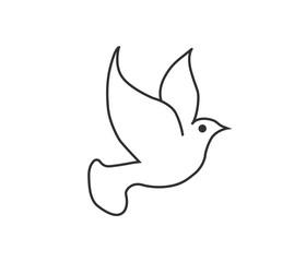 dove black line icon on white background