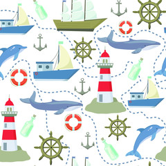 Sea seamless pattern with ships, lighthouses, dolphins, whales
