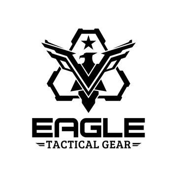 Eagle tactical triangle gear vector logo design illustration template