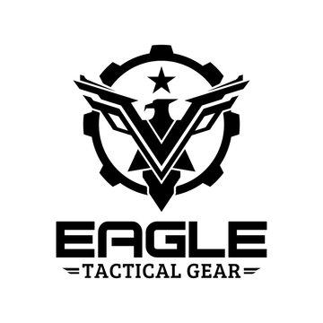 Eagle tactical gear vector logo design illustration template