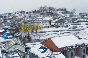 Otaru city in winter, Hokkaido, Japan