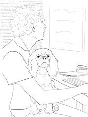 Funny hand drawn sketch of a cute little dog sitting on its owner's lap while the owner tries to get work done. The dog is a Cavalier King Charles Spaniel with the breed's typical serious expression.