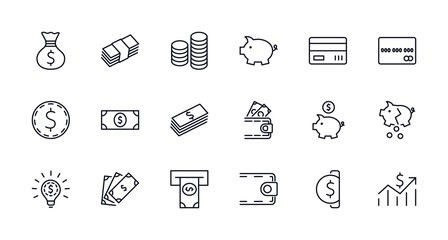 Set of Money Related Vector Line Icons. Contains such Icons as Money Bag, Piggy Bank in the form of a Pig, Wallet, ATM, Bundle of Money, Hand with a Coin and more. Editable Stroke. 32x32 Pixel Perfect
