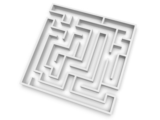 Empty maze isolated on white background. 3d illustration. View from above..
