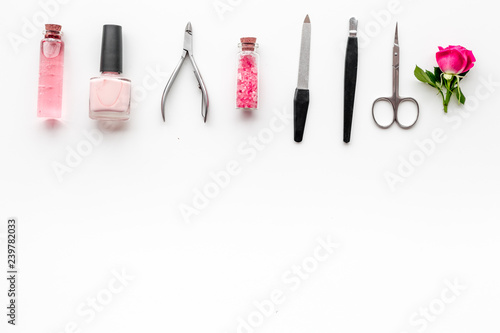 manicure and pedicure equipment for nail bar set on white background ...