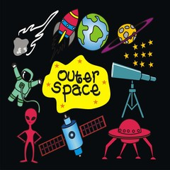 outer space elements hand drawn vector.
