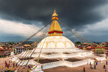 View of Bodhnath stupa, one from the best buddhist stupas on the world, the biggest stupa in Kathmandu city, Nepal