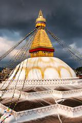 Boudha, bodhnath or Boudhanath stupa with prayer flags, the biggest Buddhist stupa in Kathmandu, Nepal.