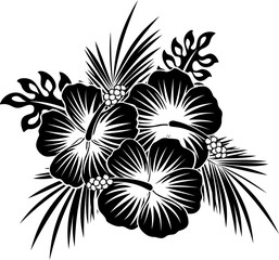 hibiscus flowers with tropical leaves in black and white
