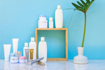 Skincare moisturizer bottle put on white marble desk table