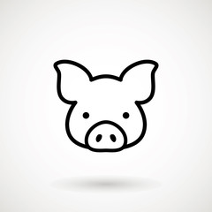 Pig line icon. logo Piglet face in outline style. Icon of Cartoon pig head. Chinese New Year 2019. Zodiac. Chinese traditional Design, decoration Vector illustration.