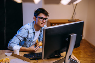 teenager freelance work on computer form home