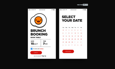 Brunch Booking Book Table App with Fried Egg Vector Illustration